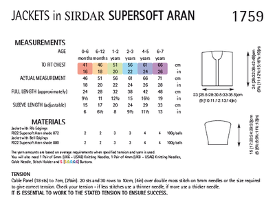 Sirdar 1759 Jacket in Supersoft Aran (PDF) Knit in a Box