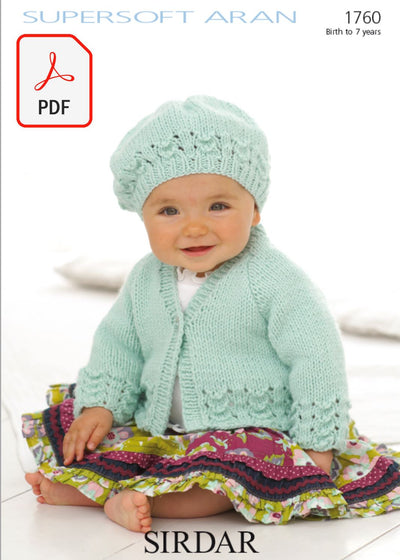 Sirdar 1760 Cardigan and Beret in Supersoft Aran (PDF) Knit in a Box