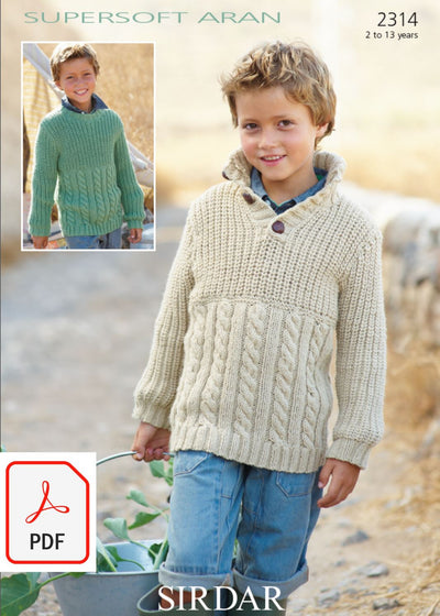 Sirdar 2314 Sweaters in Supersoft Aran (PDF) Knit in a Box