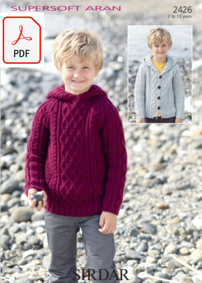 Sirdar 2426 Boys Sweater and Cardigan with Hoods in Supersoft Aran (PDF) Knit in a Box