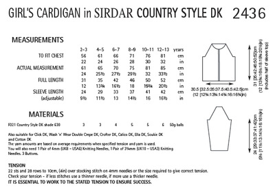 Sirdar 2436 Girl´s Cardigan in Country Style DK (PDF) Knit in a Box