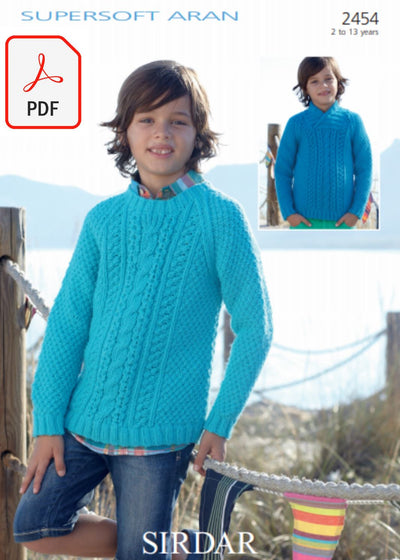 Sirdar 2454 Sweaters in Supersoft Aran (PDF) Knit in a Box