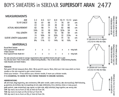 Sirdar 2477 Boy´s Sweaters in Supersoft Aran (PDF) Knit in a Box