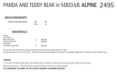 Sirdar 2495 Panda and Teddy Bear in Alpine (PDF) Knit in a Box