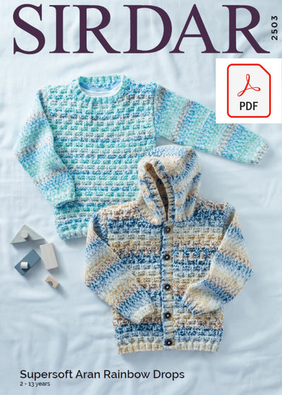 Sirdar 2503 Childrens Sweater & Hooded Cardigan in Supersoft Aran Rainbow Drops (PDF) Knit in a Box