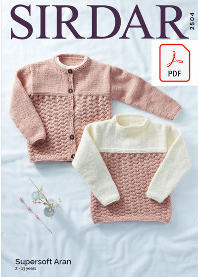 Sirdar 2504 Children Sweater & Jacket in Supersoft Aran (PDF) Knit in a Box