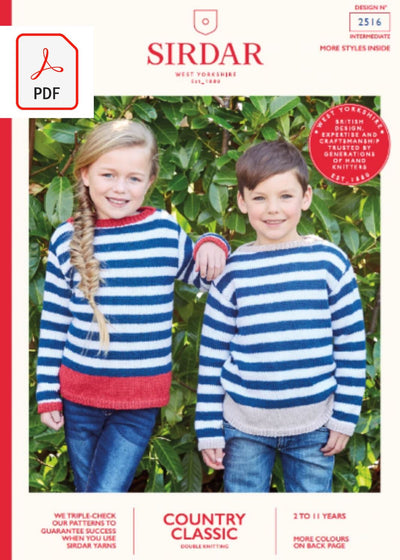 Sirdar 2516 Child Sweaters in Sirdar Country Classic DK (PDF) Knit in a Box