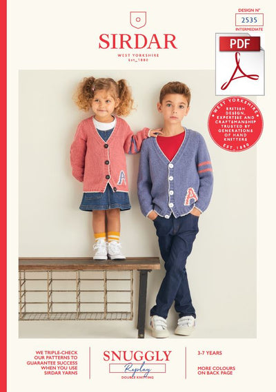 Sirdar 2535 Children Cardigans in Snuggly Replay DK Knitting (PDF) Knit in a Box