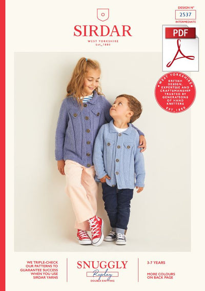 Sirdar 2537 Children Jackets in Snuggly Replay DK Knitting (PDF) Knit in a Box
