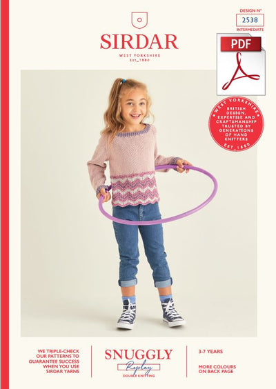 Sirdar 2538 Children Sweater in Snuggly Replay DK Knitting (PDF) Knit in a Box