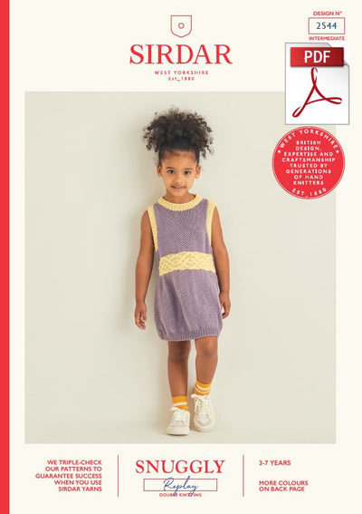 Sirdar 2544 Children Dress in Snuggly Replay DK Knitting (PDF) Knit in a Box