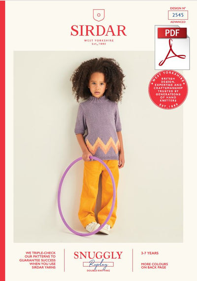 Sirdar 2545 Children Sweater in Snuggly Replay DK Knitting (PDF) Knit in a Box