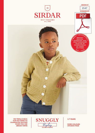 Sirdar 2547 Children Hooded Jacket in Snuggly Replay DK Knitting (PDF) Knit in a Box