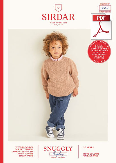 Sirdar 2550 Children Sweater in Snuggly Replay DK Knitting (PDF) Knit in a Box