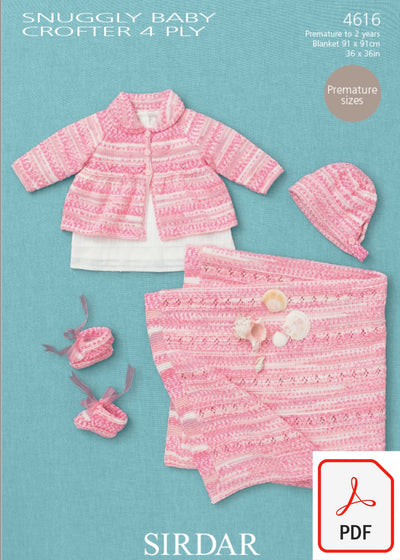 Sirdar 4616 Babies Coat, Hat, Bootees & Blanket in Snuggly Baby Crofter 4 ply yarn (PDF) Knit in a Box