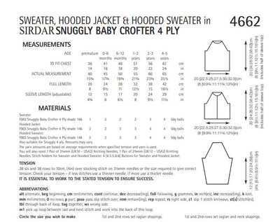 Sirdar 4662 Sweater, Hooded Jacket and Hooded Sweater in Snuggly Baby Crofter 4 ply (PDF) Knit in a Box