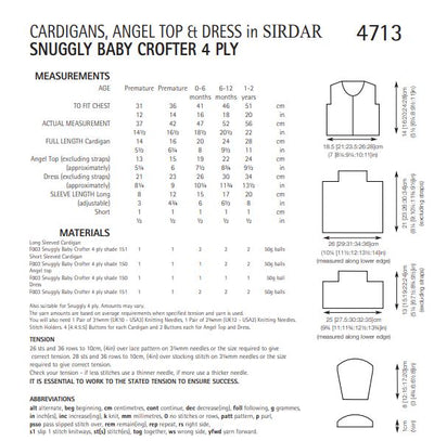 Sirdar 4713 Cardigans, Angel Top and Dress in Snuggly Baby Crofter 4 ply (PDF) Knit in a Box