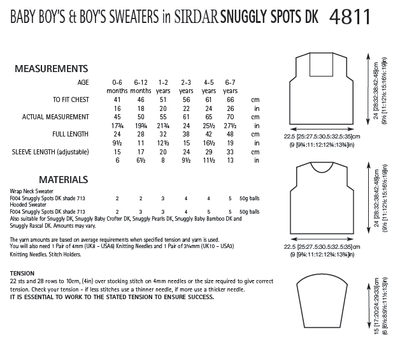 Sirdar 4811 Baby Boy´s and Boy´s Sweaters in Snuggly Spots DK (PDF) Knit in a Box