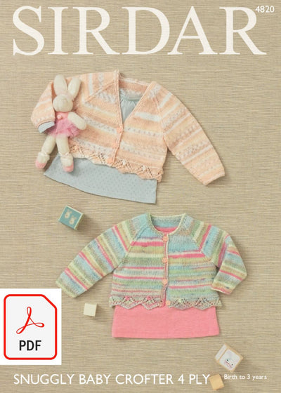 Sirdar 4820 Girl´s Cardigans in Snuggly Baby Crofter 4 ply (PDF) Knit in a Box