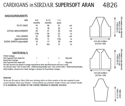Sirdar 4826 Cardigans in Supersoft Aran (PDF) Knit in a Box