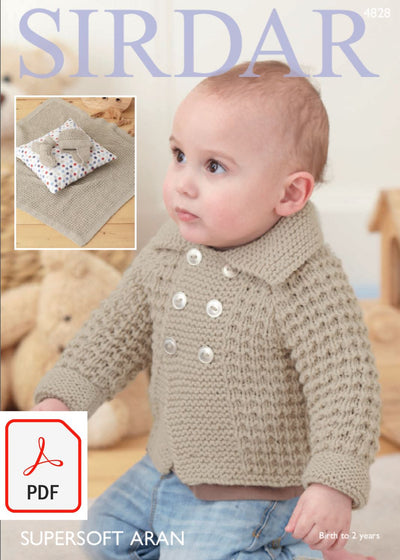 Sirdar 4828 Baby Boy´s Jacket, Blanket, Helmet and Bootees in Supersoft Aran (PDF) Knit in a Box