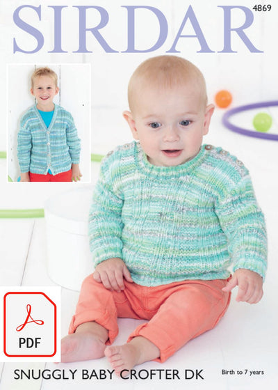Sirdar 4869 Sweater and Cardigan in Snuggly Baby Crofter DK and Snuggly DK (PDF) Knit in a Box