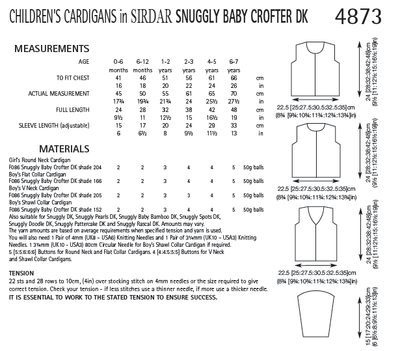 Sirdar 4873 Children´s Cardigans in Snuggly Baby Crofter DK (PDF) Knit in a Box