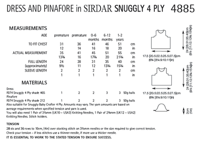 Sirdar 4885 Dress and Pinafore in Snuggly 4 Ply (PDF) Knit in a Box