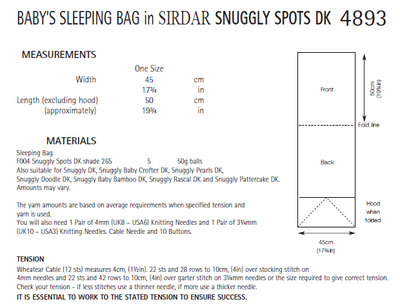 Sirdar 4893 Baby´s Sleeping Bag in Snuggly Spots DK (PDF) Knit in a Box