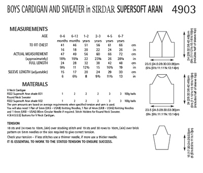 Sirdar 4903 Boy´s Cardigan and Sweater in Supersoft Aran (PDF) Knit in a Box