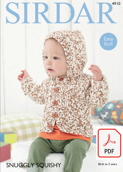 Sirdar 4910 Boy´s Hooded Jacket in Snuggly Squischy (PDF) Knit in a Box