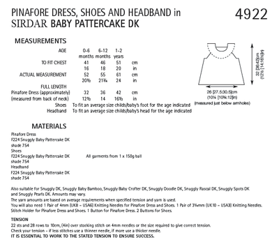 Sirdar 4922 Pinafore Dress, Shoes and Headband in Baby Pattercake DK (PDF) Knit in a Box