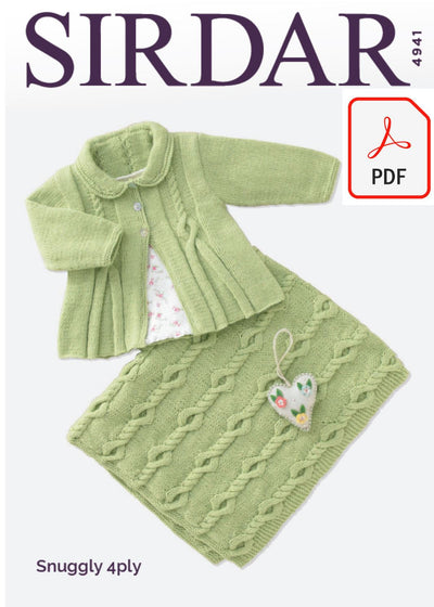 Sirdar 4941 Baby Girl´s Matinee Coat and Blanket in Snuggly 4 Ply (PDF) Knit in a Box