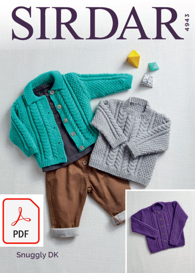 Sirdar 4943 Baby´s and Girl´s Cardigans and Sweater in Snuggly DK (PDF) Knit in a Box