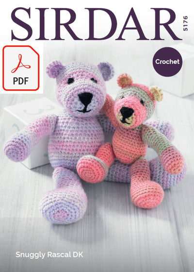 Sirdar 5176 Crochet Mummy and Baby Bear in Snuggly Rascal DK (PDF) Knit in a Box