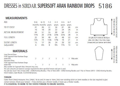Sirdar 5186 Dresses in Supersoft Aran Rainbow Drops (PDF) Knit in a Box