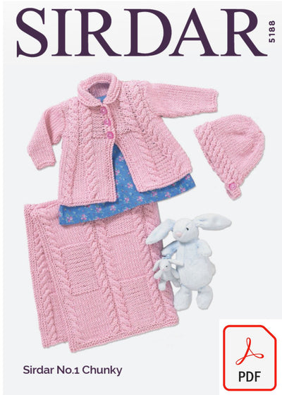 Sirdar 5188 Baby Girl´s Matinee Coat, Bonnet and Blanket in No.1 Chunky (PDF) Knit in a Box