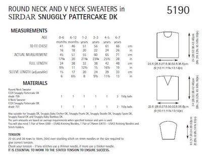 Sirdar 5190 Round Neck and V Neck Sweaters in Snuggly Pattercake DK (PDF) Knit in a Box