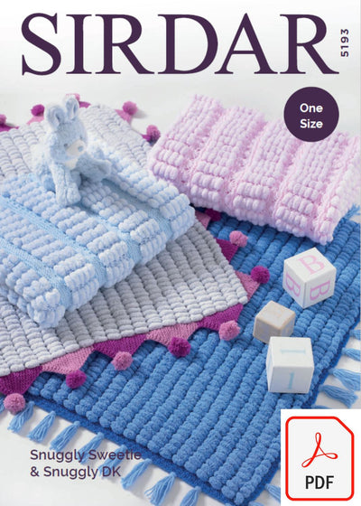 Sirdar 5193 Blankets in Snuggly Sweetie and Snuggly DK (PDF) Knit in a Box