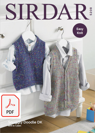 Sirdar 5208 Baby / Childrens Tank Top & Waistcoat in Snuggly Doodle DK (PDF) Knit in a Box