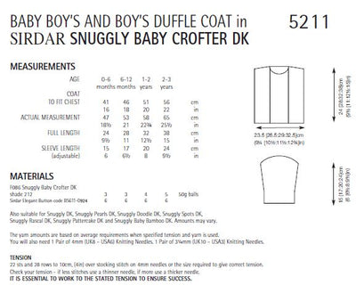 Sirdar 5211 Baby Boy's Duffle Coat in Sirdar Snuggly Baby Crofter DK (PDF) Knit in a Box
