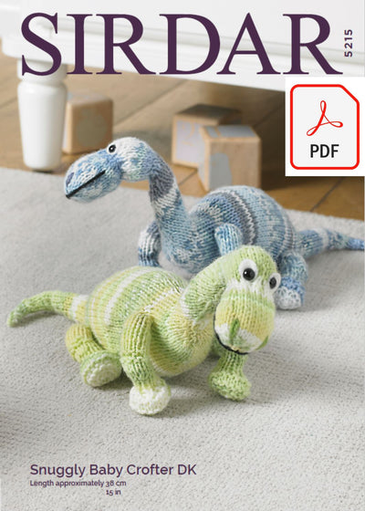 Sirdar 5215 Dinosaur Toy in Sirdar Snuggly Baby Crofter DK (PDF) Knit in a Box