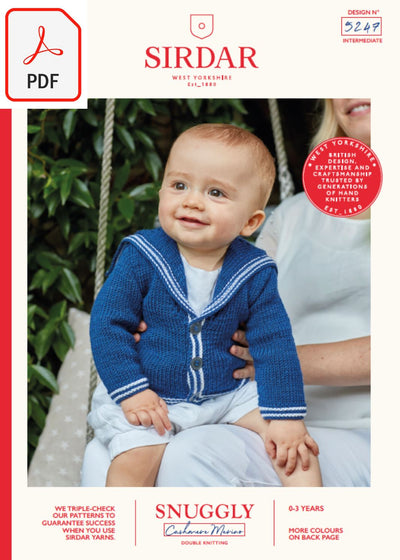 Sirdar 5247 Baby's Sailor Cardigan in Snuggly Cashmere Merino DK (PDF) Knit in a Box