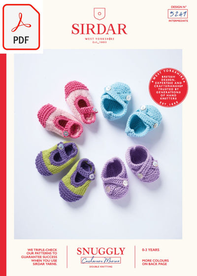 Sirdar 5249 Baby's Shoes in Snuggly Cashmere Merino DK (PDF) Knit in a Box