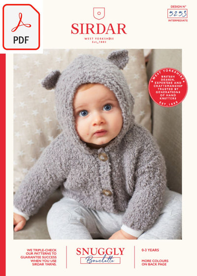 Sirdar 5253 Baby's Cardigan With Bear Ears in Snuggly Bouclette (PDF) Knit in a Box