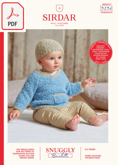 Sirdar 5256 Baby's V Neck Sweater & Hat in Snuggly Bouclette (PDF) Knit in a Box