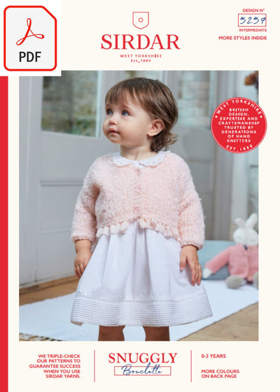Sirdar 5257 Baby's V Neck Cardigan & Doll Cardigan in Snuggly Bouclette (PDF) Knit in a Box