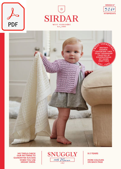 Sirdar 5260 Baby's Cardigan & Blanket in Snuggly 100% Merino 4 Ply (PDF) Knit in a Box