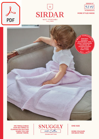 Sirdar 5272 Baby's Blankets in Snuggly 100% Cotton DK (PDF) Knit in a Box