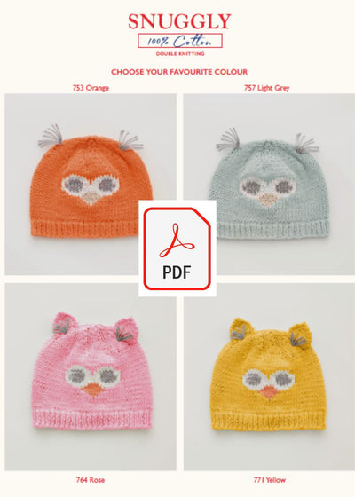 Sirdar 5275 Baby's Owl Hats in Snuggly 100% Cotton DK (PDF) Knit in a Box
